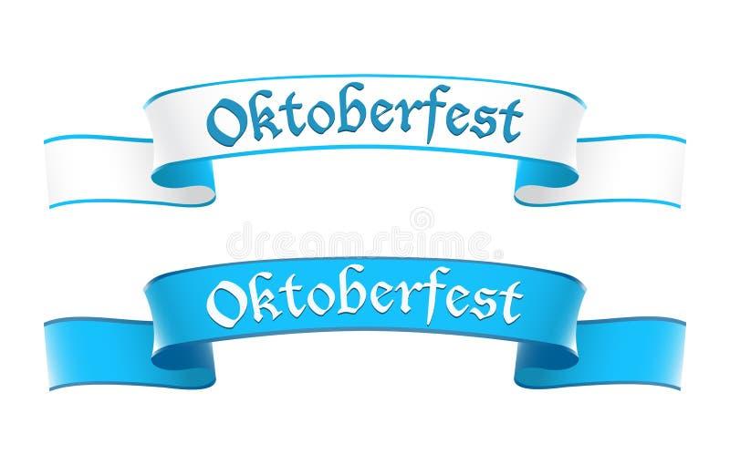 Oktoberfest baner i bavarianfärger royaltyfri illustrationer