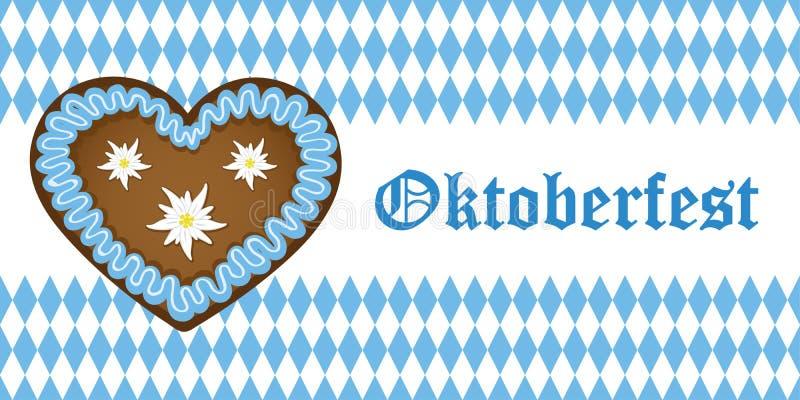Oktoberfest baner med pepparkakahjärta på vit bavariaflaggabakgrund som är blå och royaltyfri illustrationer