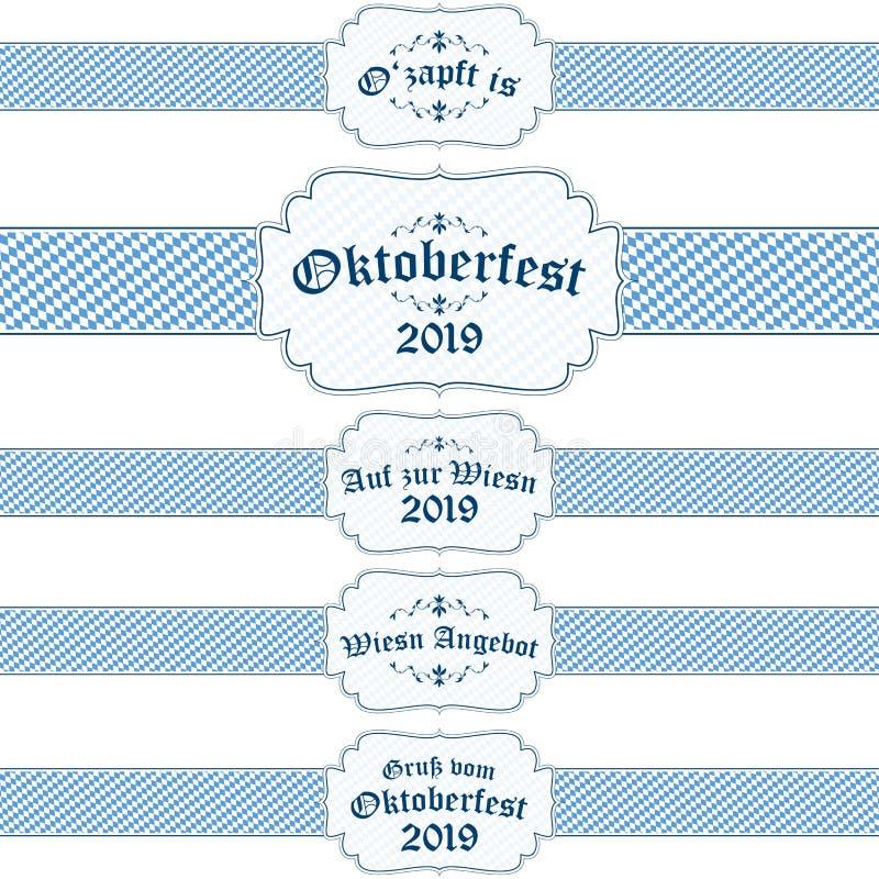 Oktoberfest 2019 baner med text stock illustrationer