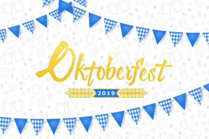 Oktoberfest banner. Background with Oktoberfest lettering logo, holiday garland buntings of Bavarian checkered blue flag and patte stock illustration