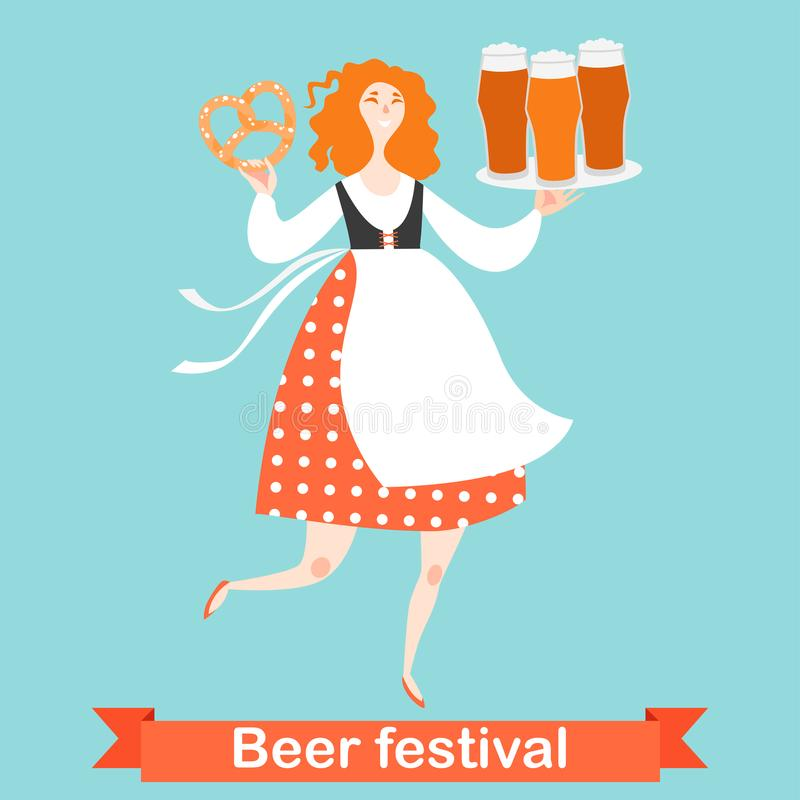 Oktoberfest banner with funny cartoon character in Bavarian costume. A girl with glasses of beer and pretzel. On a blue background vector illustration