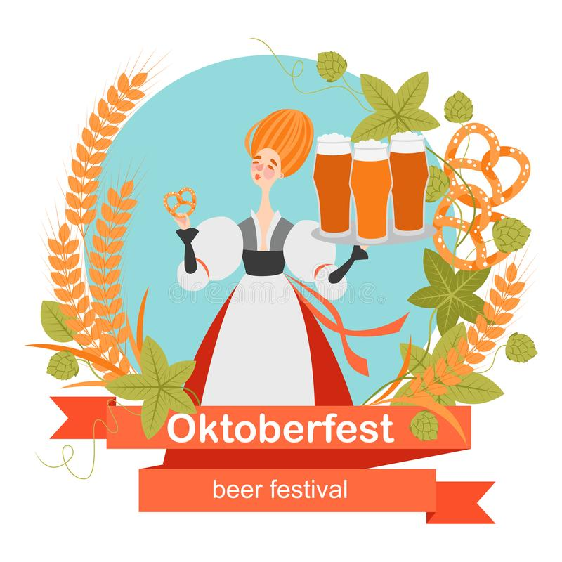 Oktoberfest banner with funny cartoon character in a wreath of barley and hops. A girl with glasses of beer and pretzel. Oktoberfest banner with funny cartoon vector illustration