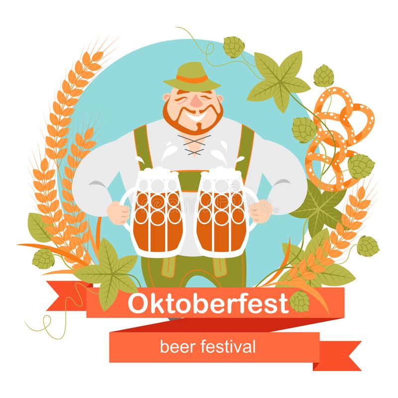 Oktoberfest banner with funny cartoon character in a wreath of barley and hops. A man with a mugs of beer. Oktoberfest banner with funny cartoon character in a stock illustration