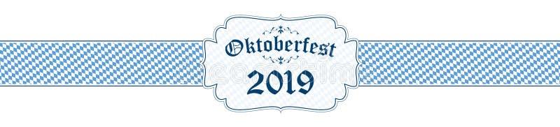 Oktoberfest banner with text Oktoberfest 2019. Blue and white Oktoberfest banner with text Oktoberfest 2019 bavaria background ozapft festoon border wiesn offer royalty free illustration