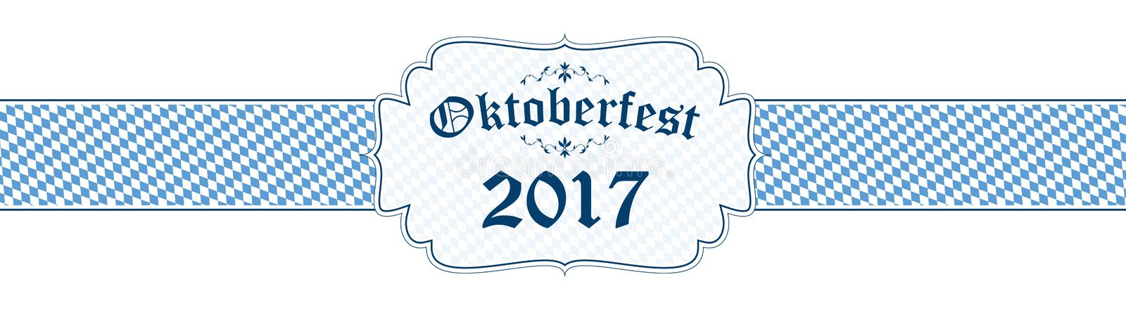 Oktoberfest banner with text Oktoberfest 2017 royalty free illustration