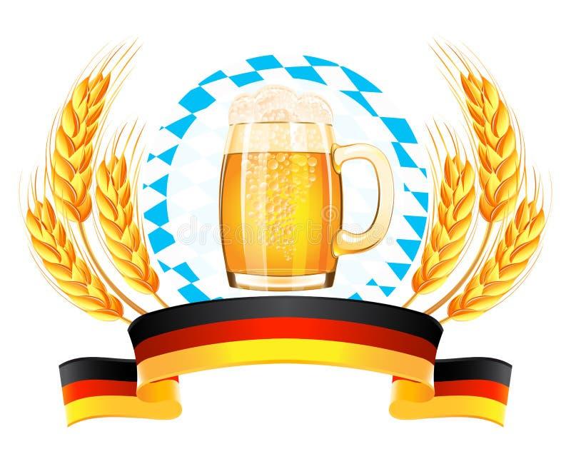 Oktoberfest banner with wheat ears vector illustration