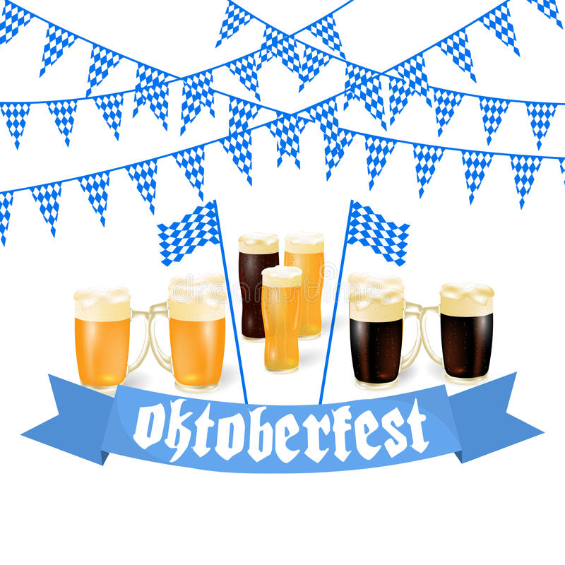 Oktoberfest banners in Bavarian color. Light and dark beer. Feast of Bavaria white and blue ribbon Oktoberfest. Vector illustration vector illustration