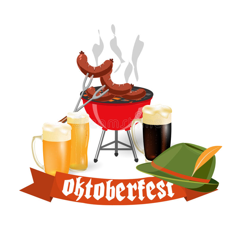 Oktoberfest banners in Bavarian color. Light and dark beer, sausages, brazier, hat. Feast of Bavaria with a red ribbon. Oktoberfest. Vector illustration royalty free illustration