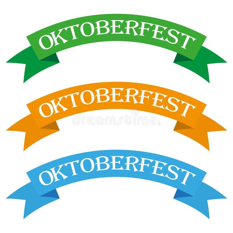Oktoberfest banners in bavarian colors vector set. Bavaria festival white and blue Oktoberfest ribbon. Munich design national icon vector illustration