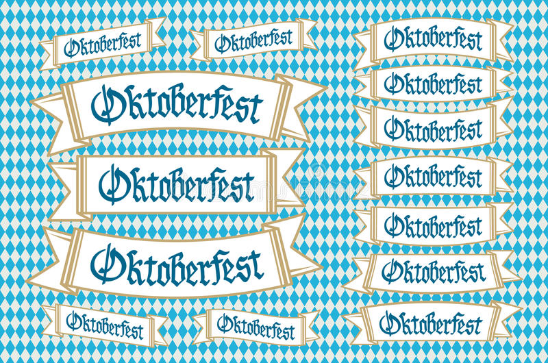 Oktoberfest banners in bavarian colors vector set. Bavaria festival white and blue Oktoberfest ribbon. Munich design national icon royalty free illustration