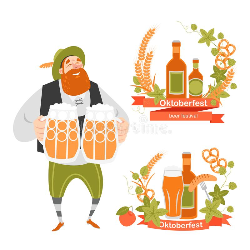 Oktoberfest banners with funny cartoon character in Bavarian costume with mugs of beer and wreaths of barley and hops. On a white background vector illustration