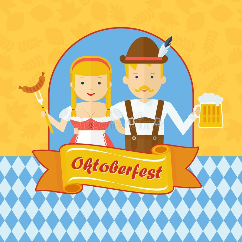 Oktoberfest bavarian couple. Vector Oktoberfest logo. Bavarian man and woman celebrating Oktoberfest. Design elements for marketing, advertising and media. Flat vector illustration