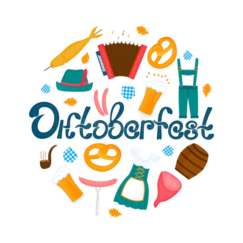 Oktoberfest - Bavarian festival. Banner with lettering and glasses of beer, pretzel and accordion. Traditional German stock illustration