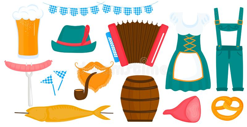 Oktoberfest Bavarian Festival. Women`s and men`s traditional German Dirndl dress. Glass of beer, accordion, pretzel royalty free illustration