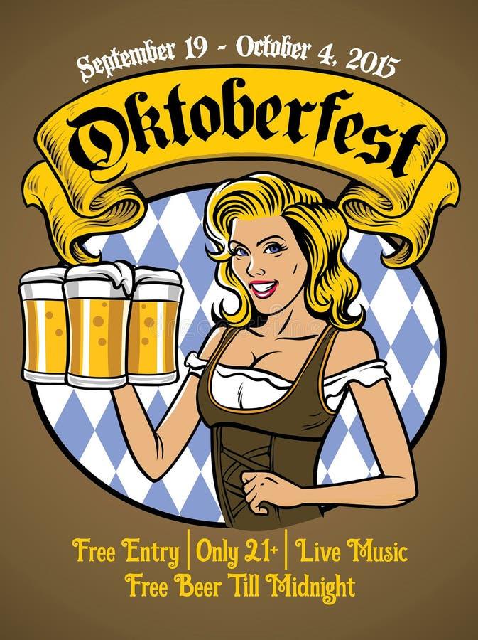 Oktoberfest bavarian girl. Vector of oktoberfest bavarian girl royalty free illustration