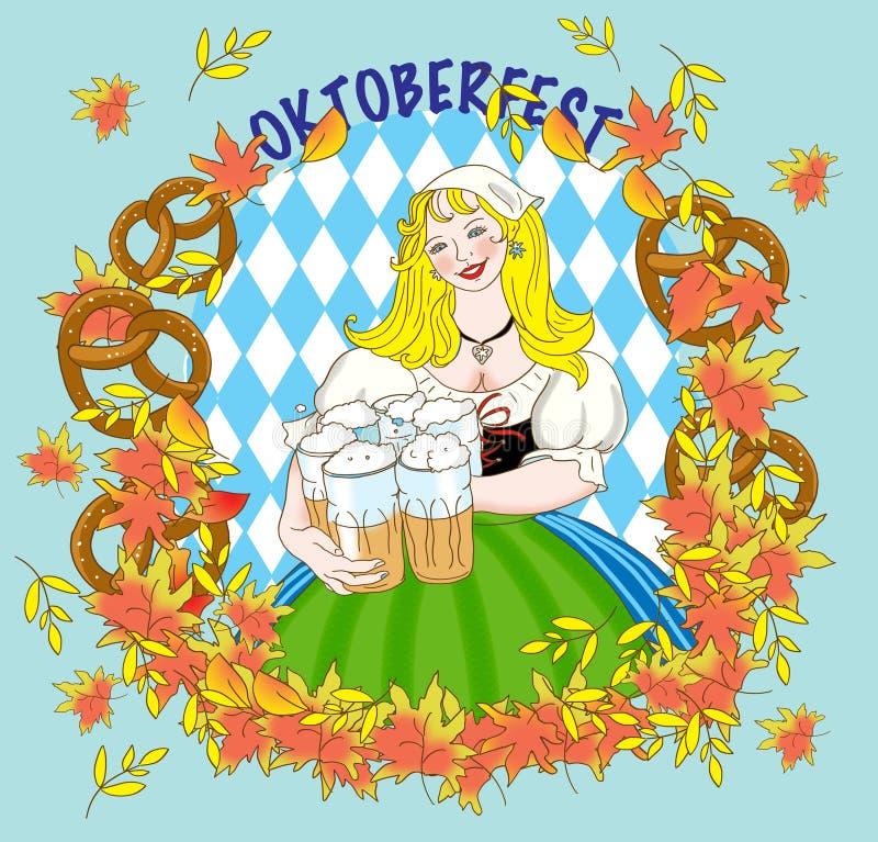 Oktoberfest. Beautiful Bavarian girl with a mug of beer at Oktoberfest royalty free illustration