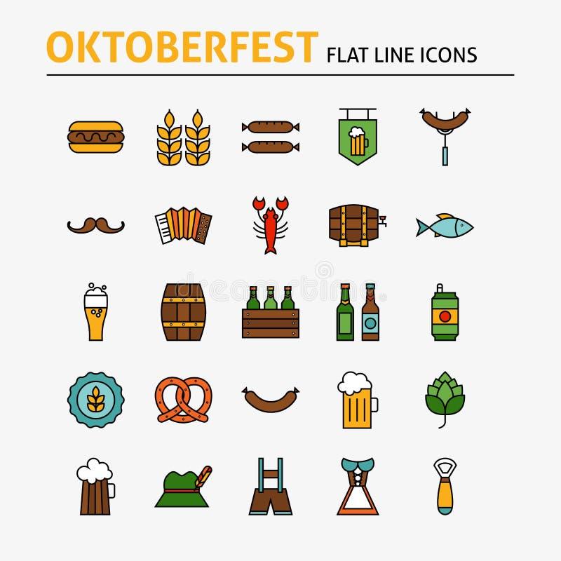 Oktoberfest Beer Colorful Flat Line Icons Set stock illustration