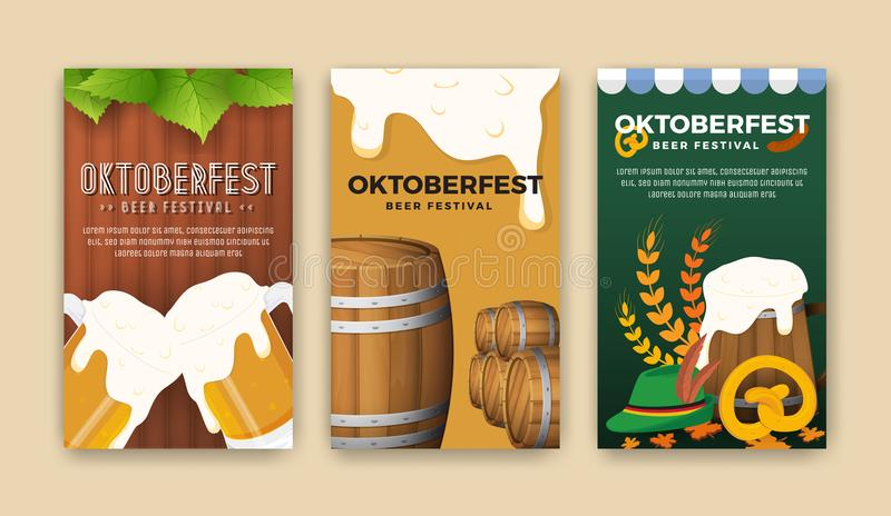 Oktoberfest beer festival advertisement web banner. Template. Oktoberfest background for flyer cover, billboard, poster design. Vector illustration stock illustration