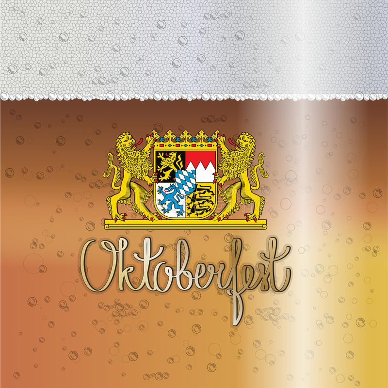 Oktoberfest Beer Festival Bavarian gold yellow drops background. The coat of arms of Bavaria against the background of beer and foam stock illustration