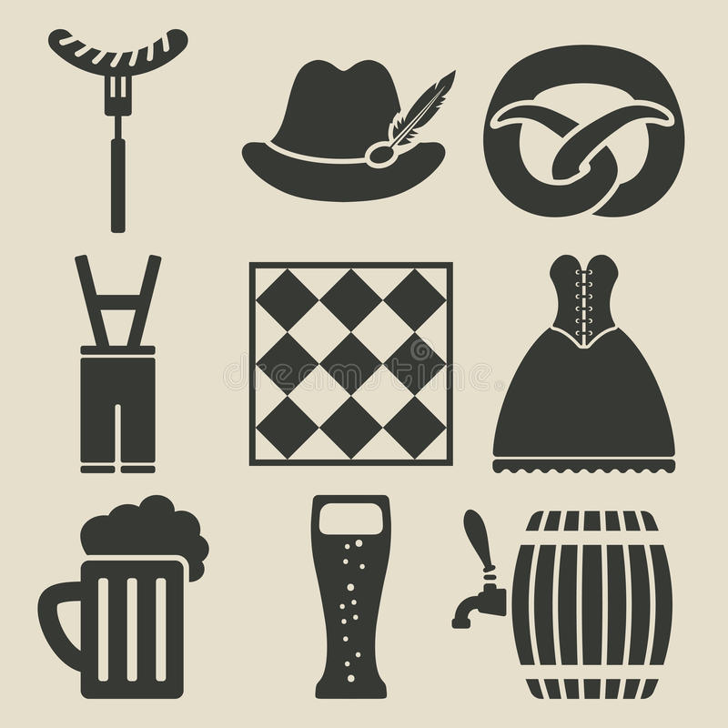 Oktoberfest beer festival icons set vector illustration