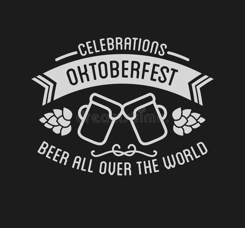 Oktoberfest beer festival lettering typography celebration retro typographic design stock illustration