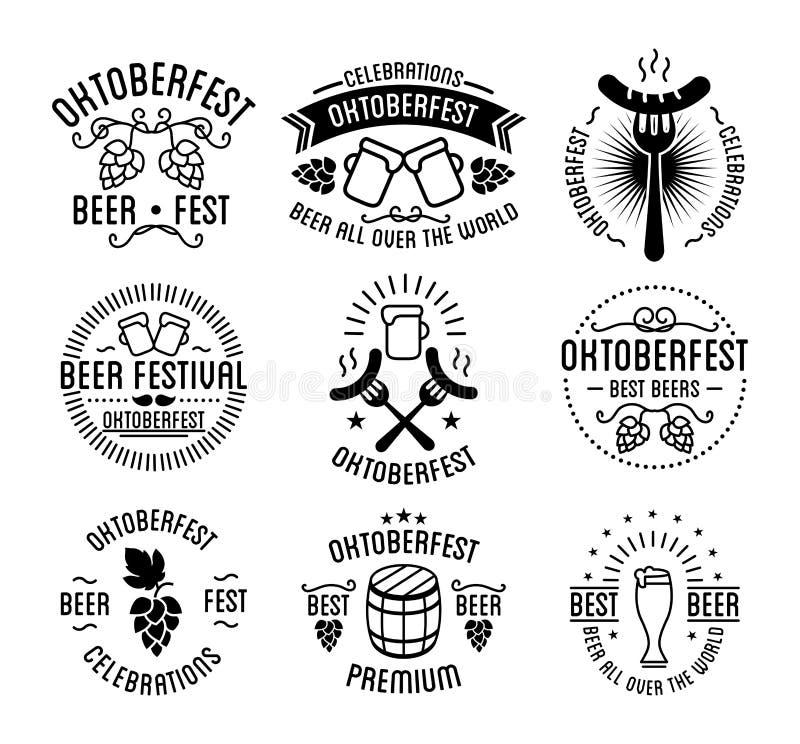 Oktoberfest beer festival lettering typography set stock illustration