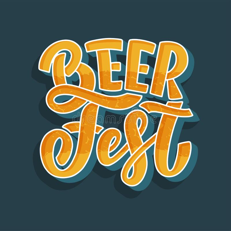 Oktoberfest beer festival logo or banner design. Holiday decoration and funny lettering print. Concept autumn advertising. Vector stock illustration