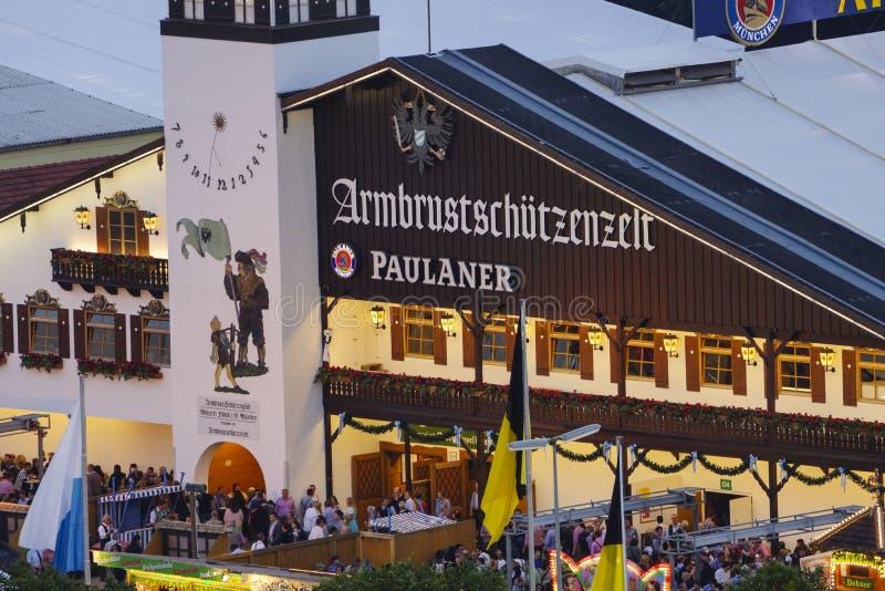 Oktoberfest beer festival in Munich, Germany. Armbrustschuetzen - Festzelt at the Wiesn, Munich Oktoberfest Beer Festival, Bavaria, Germany royalty free stock images
