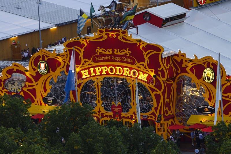 Oktoberfest beer festival in Munich, Germany. Hippodrom Festzelt at the Wiesn, Munich Oktoberfest Beer Festival, Bavaria, Germany royalty free stock image