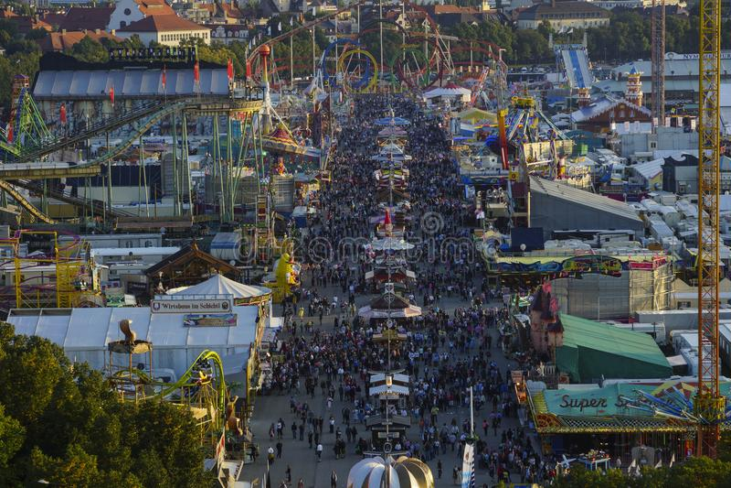 Oktoberfest beer festival in Munich, Germany. Look at the Wiesn, Munich Oktoberfest Beer Festival, Bavaria, Germany stock photo