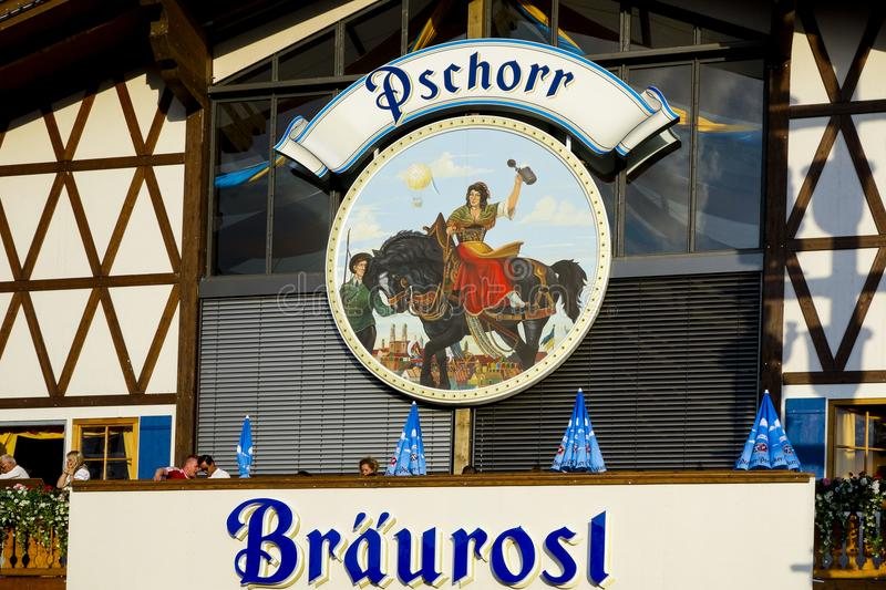 Oktoberfest beer festival in Munich, Germany. Sign on the Beer Tent Pschorr Braeurosl at Oktoberfest in Munich, Bavaria, Germany stock image