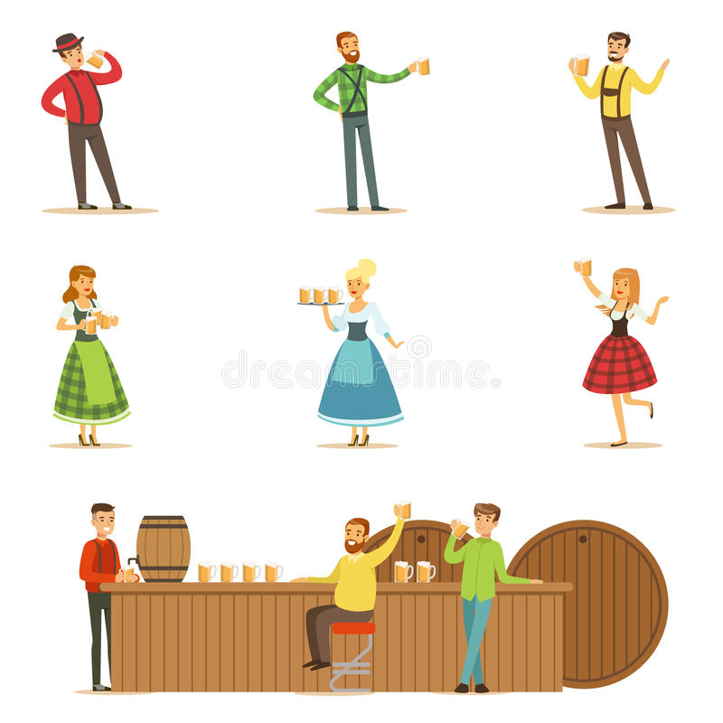 Oktoberfest Beer Festival Scenes With People In Bavarian Traditional Costumes Drinking Beer And Having Fun Set stock illustration