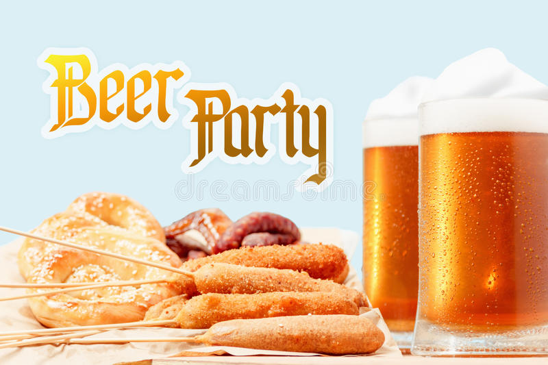 Beer and bavaria national dishes. Oktoberfest traditional food royalty free stock image
