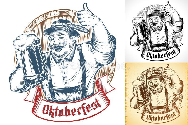 Oktoberfest Beer Holiday Man Germany Glass Thumb Ink Barrel Set. Bavarian Man holding glass of beer. Lettering Oktoberfest on ribbon. Wooden beer barrel royalty free illustration