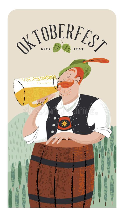 Oktoberfest beer party. Beer festival in Germany. Vector illustration. Oktoberfest beer party. Beer festival in Germany. A man in traditional German clothes vector illustration