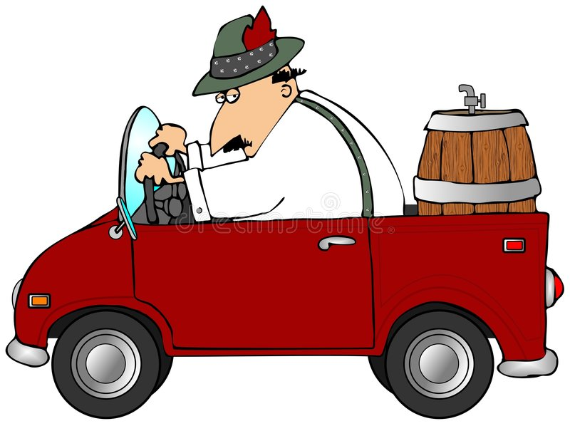 Oktoberfest Beer Run. This illustration depicts a man in Bavarian attire driving a red truck with a beer keg in the back vector illustration