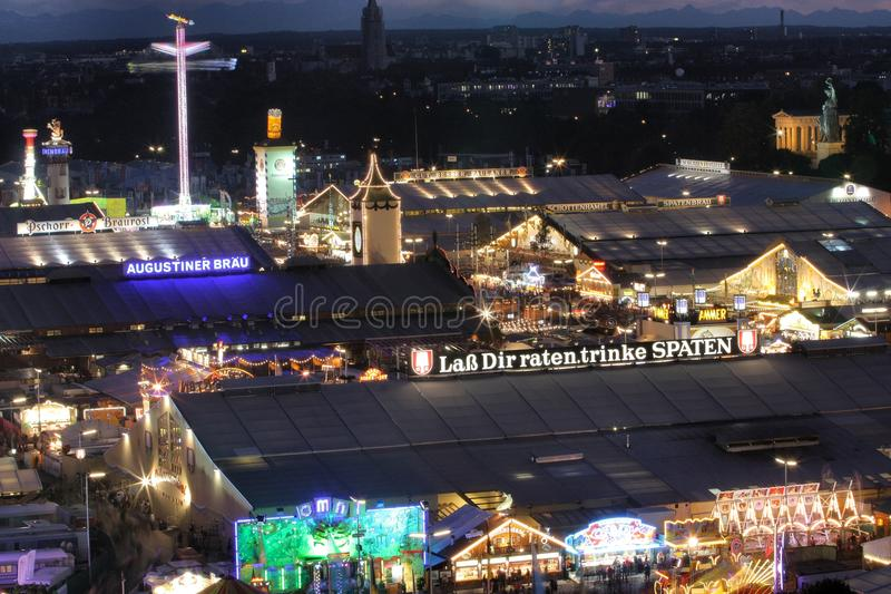 Oktoberfest beer tents at night. Oktoberfest fairground with beer tents at the 179th Oktoberfest in Munich in 2012 stock photos