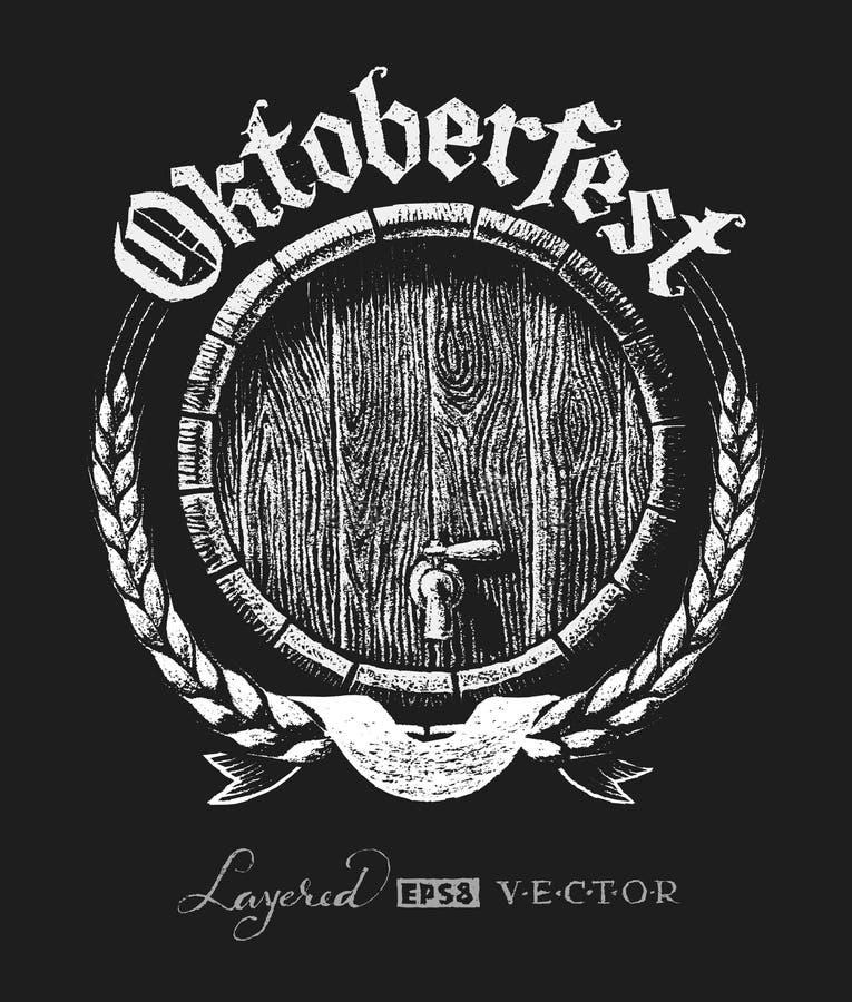 Oktoberfest-Beschriftung mit hölzernem Fass vektor abbildung