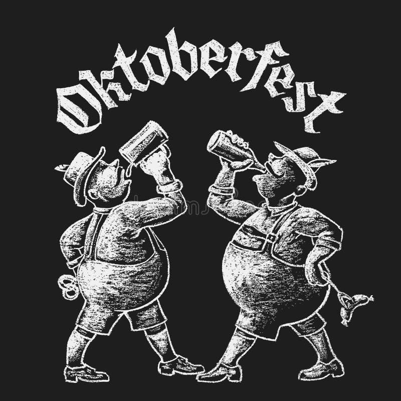 Oktoberfest-Beschriftung mit zwei Männern, die Bier trinken lizenzfreie abbildung