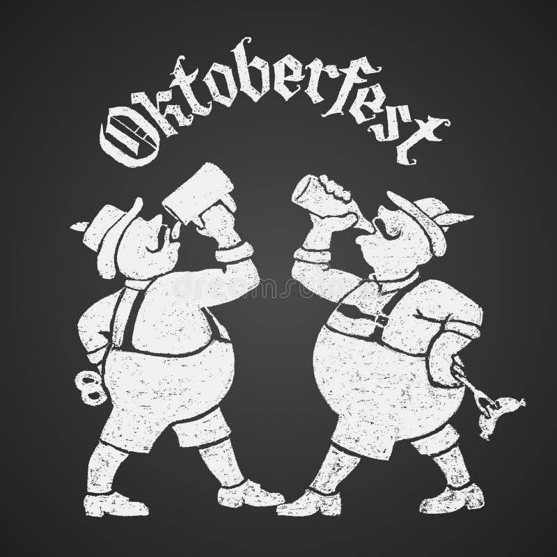 Oktoberfest-Beschriftung mit zwei Männern, die Bier trinken stock abbildung