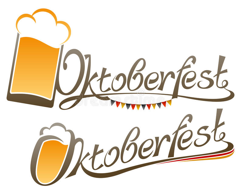 Oktoberfest-Beschriftungs-Zeichen-Wort-Glasbier-Titel vektor abbildung