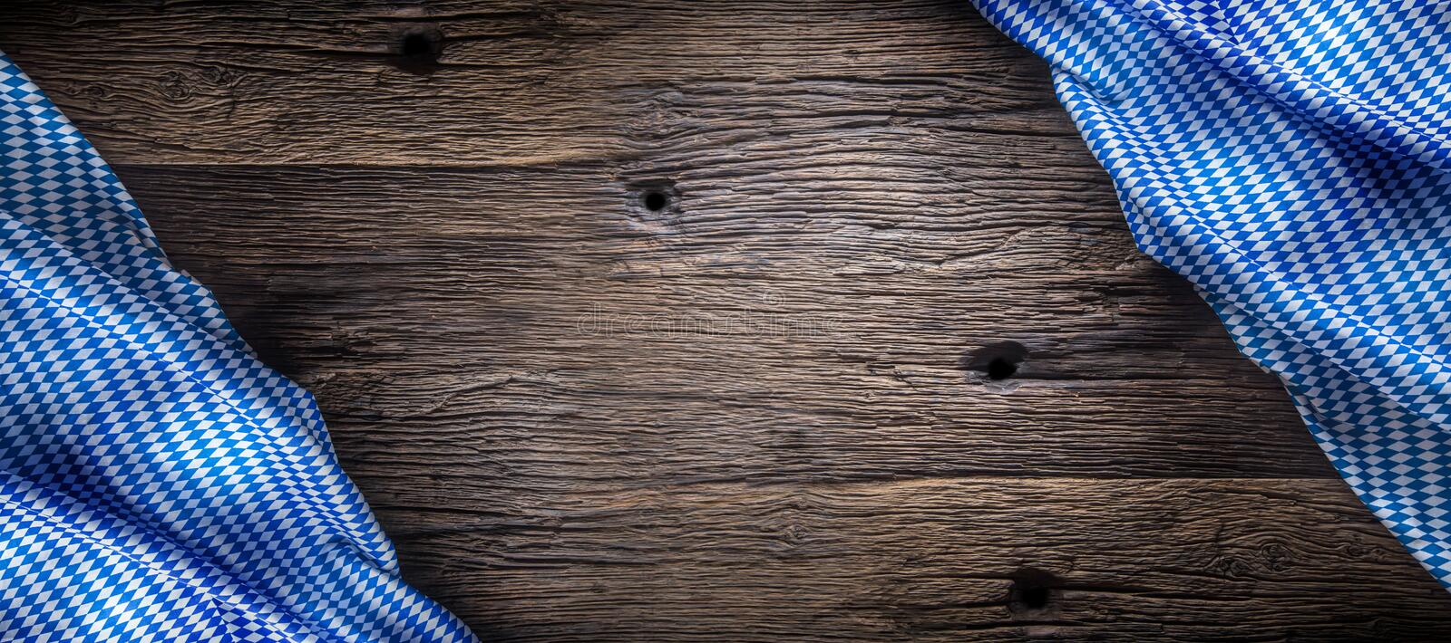 Oktoberfest. The blue checkered tablecloth or napkin typical of the Munich Beer Festival in the German Oktoberfest. Free space for your text product or royalty free stock photos