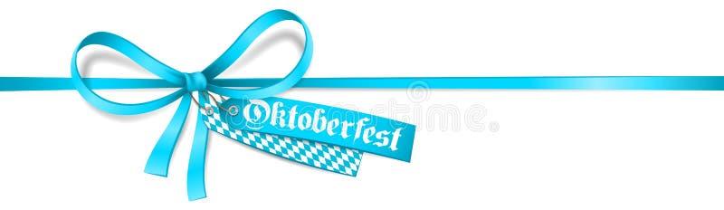 Oktoberfest Blue ribbon bow label and bavarian flag isolated Oktoberfest vector card. Blue ribbon bow with Oktoberfest label and bavarian flag isolated royalty free illustration