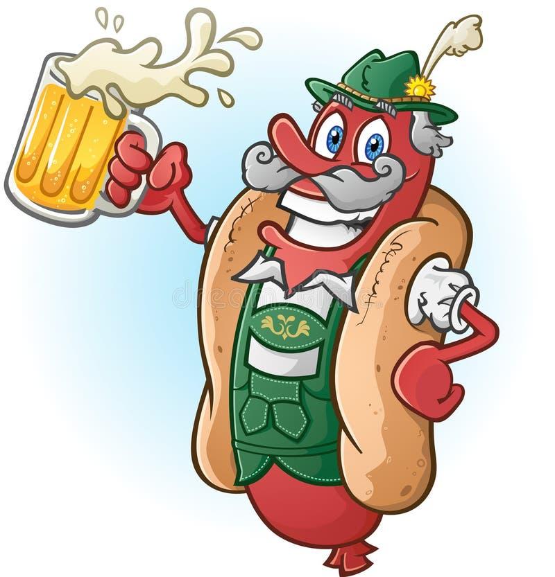 Oktoberfest-Bratwurst-Würstchen-Zeichentrickfilm-Figur-trinkendes Bier stock abbildung