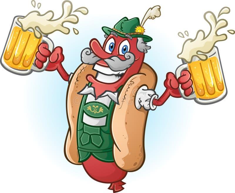 Oktoberfest-Bratwurst-Würstchen-Zeichentrickfilm-Figur-trinkendes Bier vektor abbildung