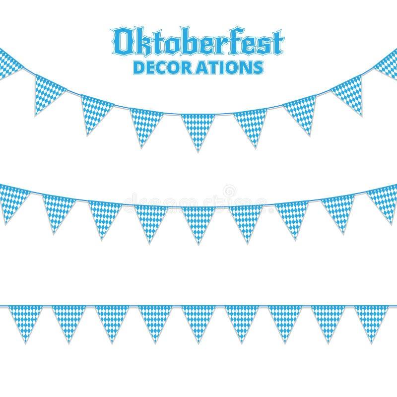 Oktoberfest buntings. Decorations for Oktoberfest. Garland buntings of Bavarian checkered blue flag. Oktoberfest buntings. Decorations for Oktoberfest. Garland royalty free illustration