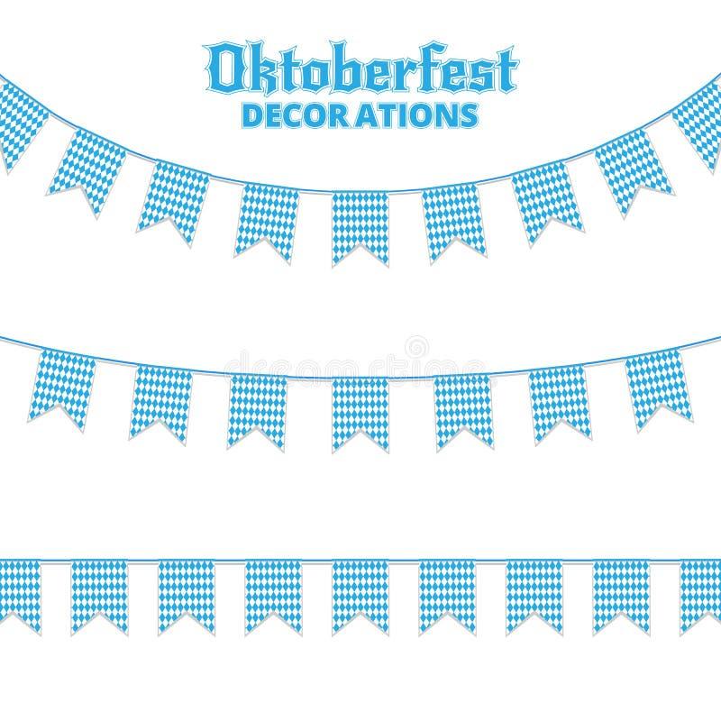 Oktoberfest buntings. Decorations for Oktoberfest. Garland buntings of Bavarian checkered blue flag. Oktoberfest buntings. Decorations for Oktoberfest. Garland stock illustration