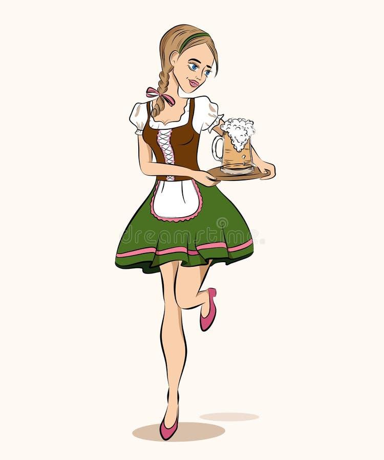 Oktoberfest cartoon style illustration of running waitress in tr stock illustration