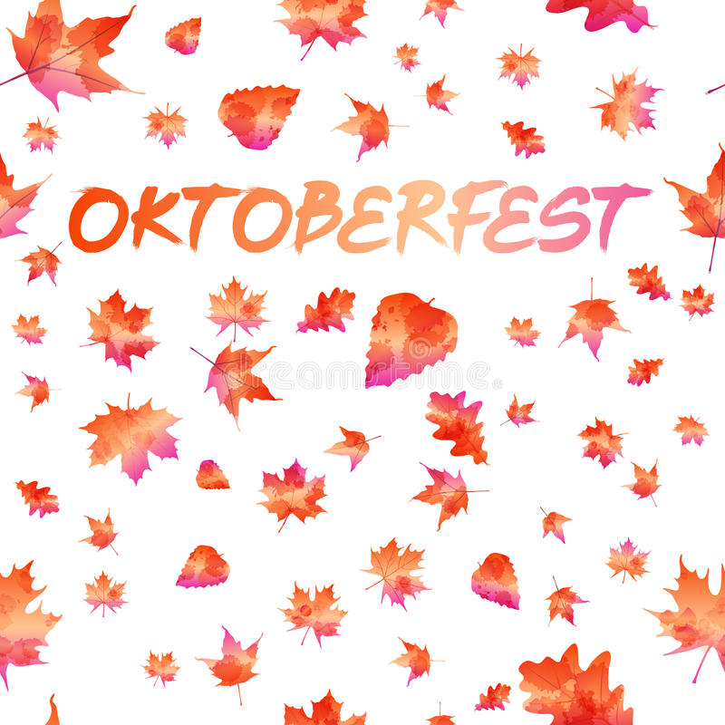 Oktoberfest celebration design with Bavarian hat and autumn leaves royalty free illustration