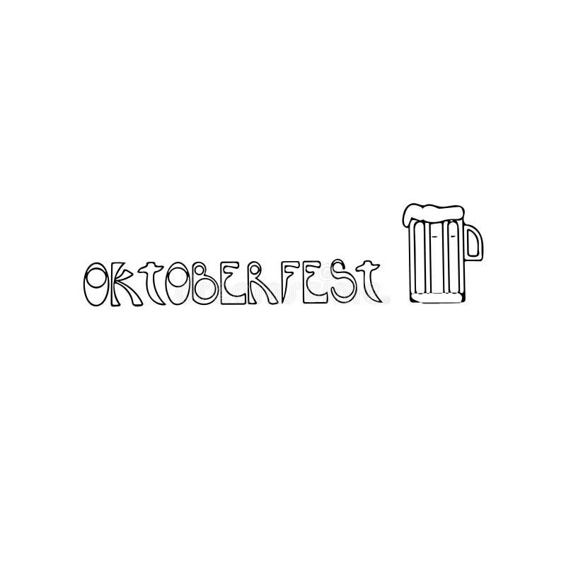 Oktoberfest - cerveja - - logotipo - ilustração escrita ilustração stock